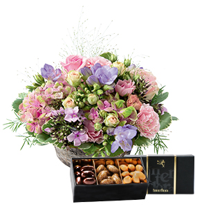 Fleurs et cadeaux Santorin et son écrin d'amandes au chocolat Anniversaire