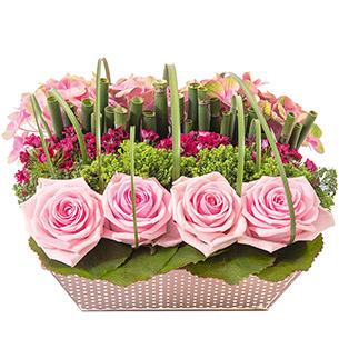 Composition florale Satin Amour