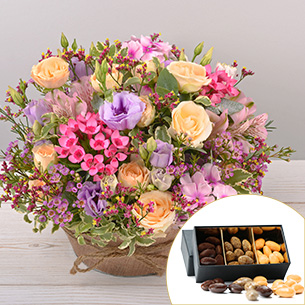 Bouquet de fleurs Zeste tendre et ses amandes au chocolat Remerciements