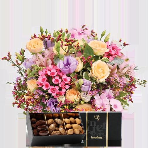 Bouquet de fleurs Zeste tendre et ses amandes au chocolat