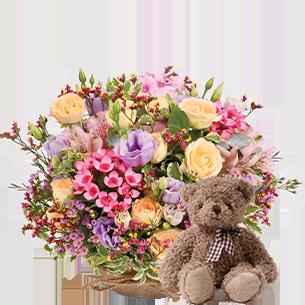Bouquet de fleurs Zeste tendre et son ourson Harry ourson