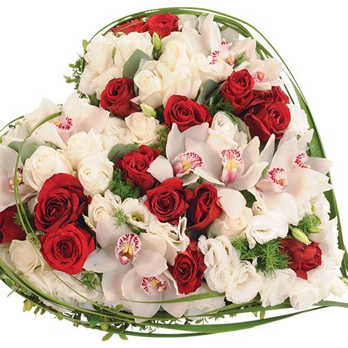 Fleurs deuil Cœur du souvenir