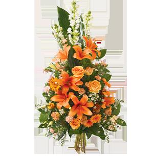 Fleurs deuil Hommage orange Deuil