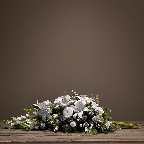 Fleurs deuil Hommage blanc