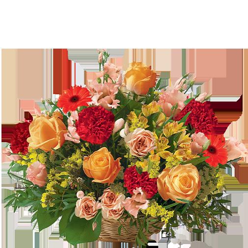 Fleurs deuil Cérémonie rouge orange