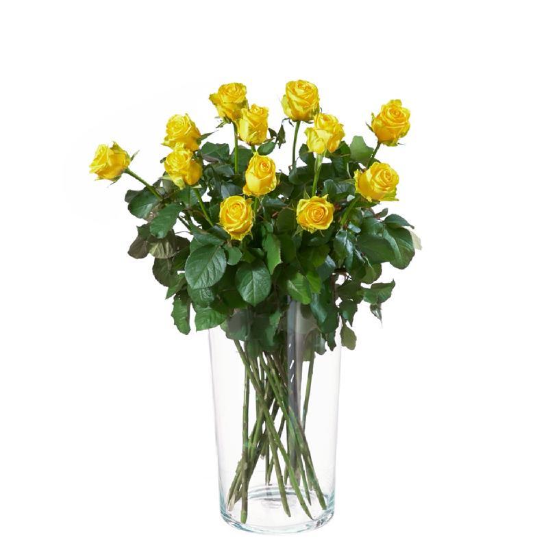 Bouquet de fleurs 12 yellow roses