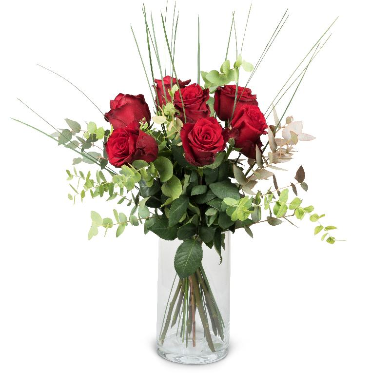 Bouquet de fleurs 7 Red Roses with greenery