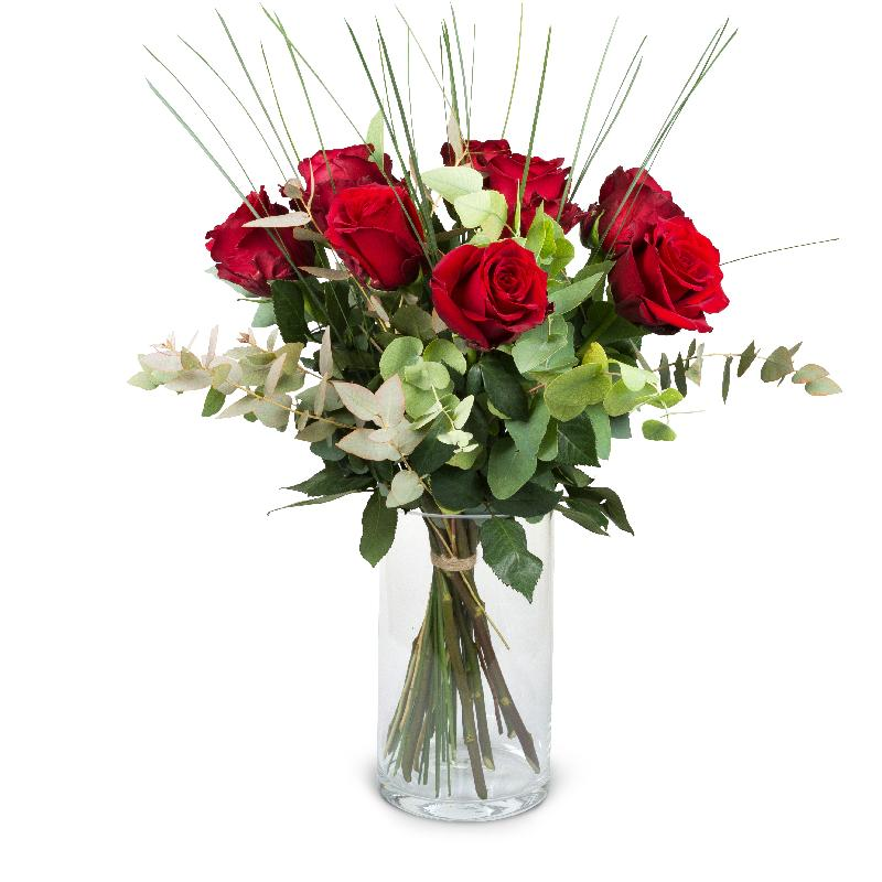Bouquet de fleurs 9 Red Roses with greenery
