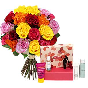 Fleurs et cadeaux Brassée de roses et sa box beauté Birchbox Anniversaire
