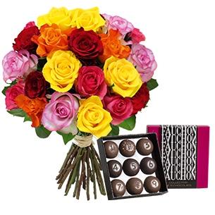 Fleurs et cadeaux Brassée de 20 roses et son écrin FAUCHON Anniversaire