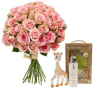 Fleurs et cadeaux Bébé douceur Sophie la girafe Naissance