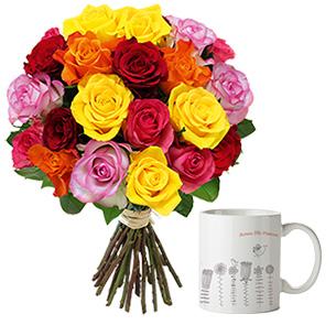 Fleurs et cadeaux Brassée de roses et son mug Anniversaire