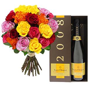 Fleurs et cadeaux Brassée de 20 roses et son champagne Veuve Clicquot Anniversaire