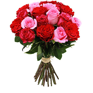 Fleurs et cadeaux Brassée de roses roses et rouges Remerciements