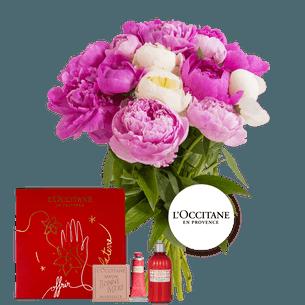 Bouquet de fleurs Brassée de pivoines et son coffret l'Occitane en Provence