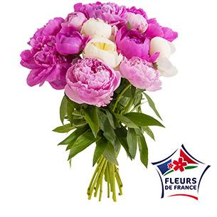 Bouquet de fleurs Brassée de 15 pivoines Fête des Mères