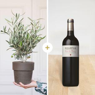 Bouquet de fleurs Olivier et son vin St Emilion Dourthe