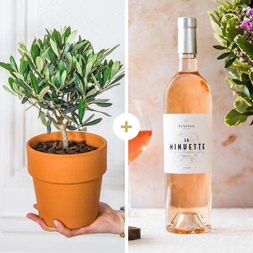 Fleurs et cadeaux Olivier et son vin rosé La Minuette
