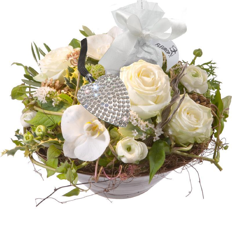 Bouquet de fleurs White Princess, incl. key ring with 112 Swarovski® crystals