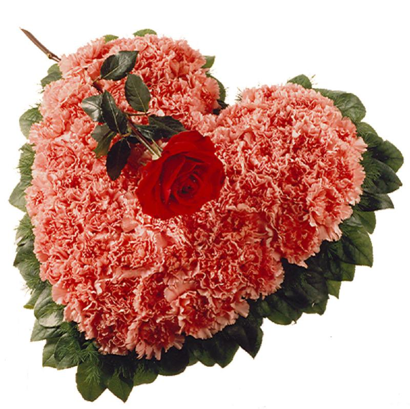 Bouquet de fleurs Heart with Carnations (For the Cemetery)