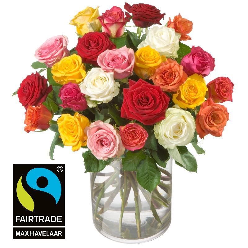 Bouquet de fleurs 24 Mixed Fairtrade Max Havelaar-Roses