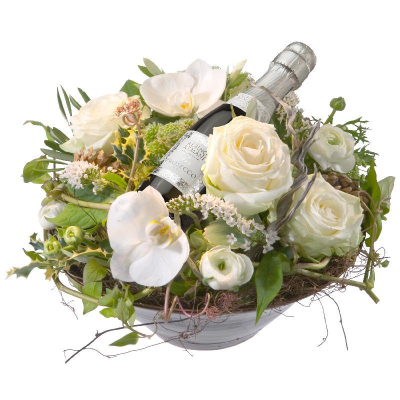 Bouquet de fleurs Heavenly Combination with  Prosecco Albino Armani DOC (20cl)