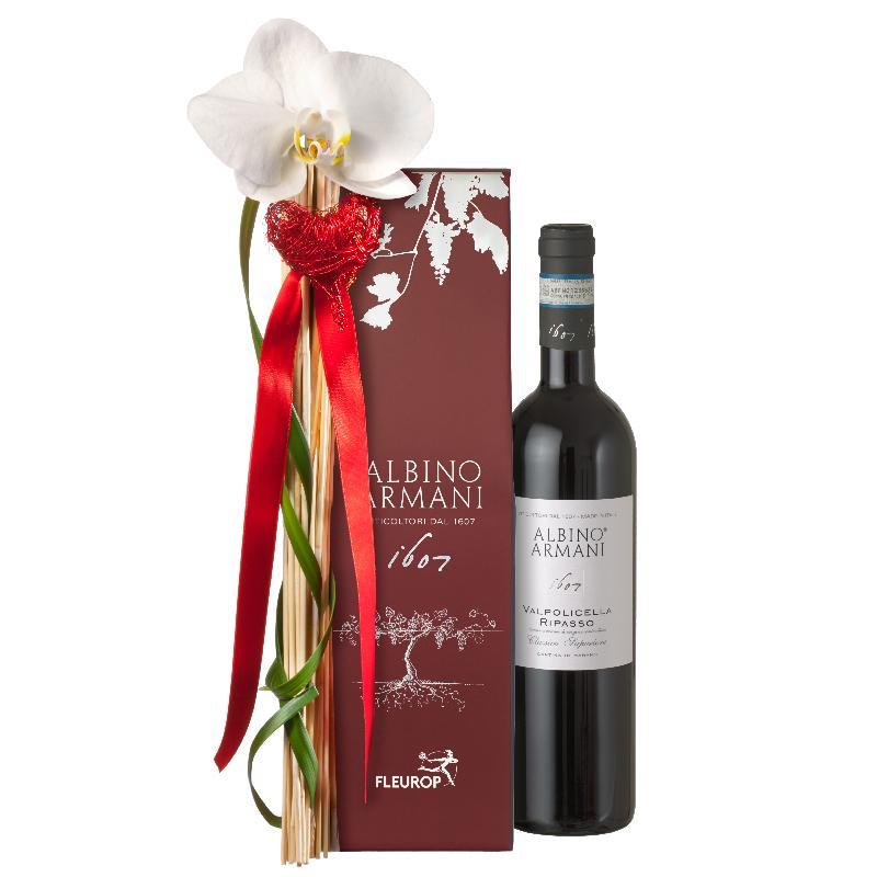 Bouquet de fleurs Precious Greetings: Ripasso Albino Armani DOC (75cl)