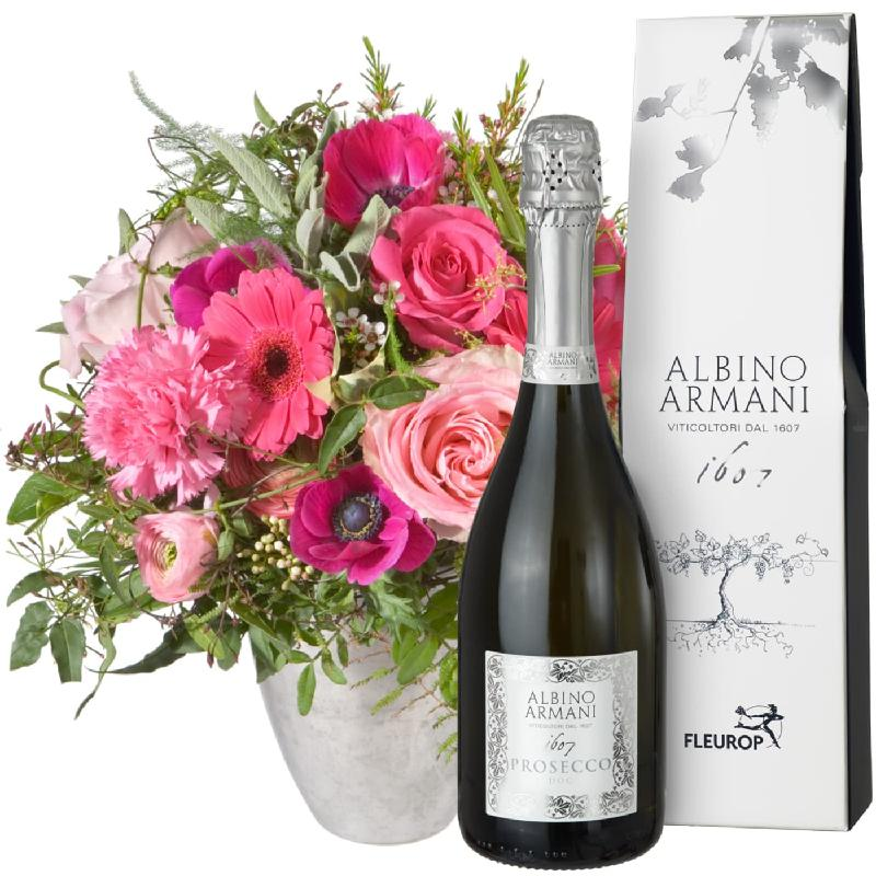 Bouquet de fleurs Spring Greeting with Prosecco Albino Armani DOC (75cl)
