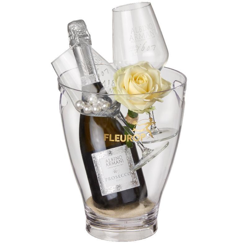 Bouquet de fleurs Charming Beauty: Prosecco Albino Armani DOC (75 cl) incl. ic