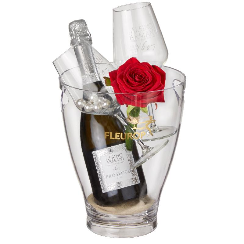 Bouquet de fleurs Kiss Me: Prosecco Albino Armani DOC (75 cl) incl. ice bucket