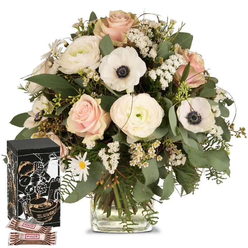 Bouquet de fleurs Because you exist with Minor Split in trendy gift tin