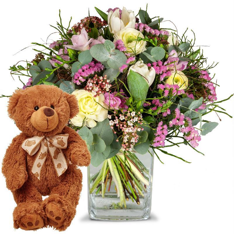 Bouquet de fleurs Tender Spring Greetings with teddy bear (brown)