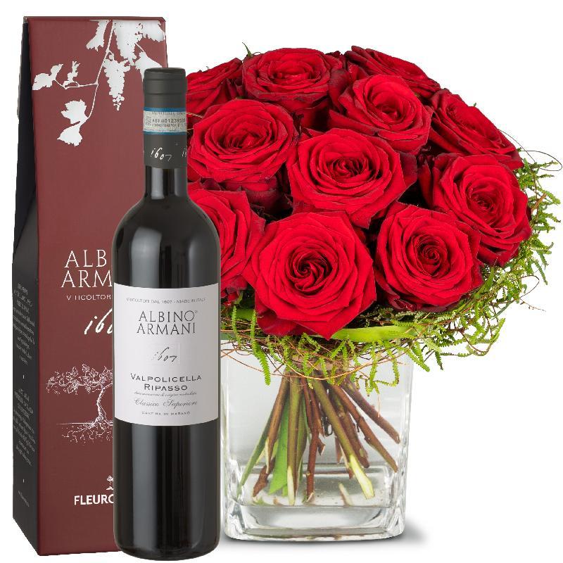 Bouquet de fleurs Small Pearl of Roses with Ripasso Albino Armani DOC (75cl)