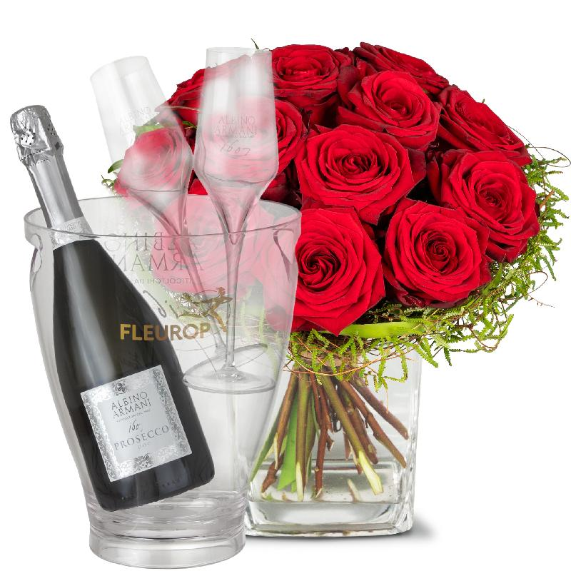 Bouquet de fleurs Small Pearl of Roses, with Prosecco Albino Armani DOC (75 cl