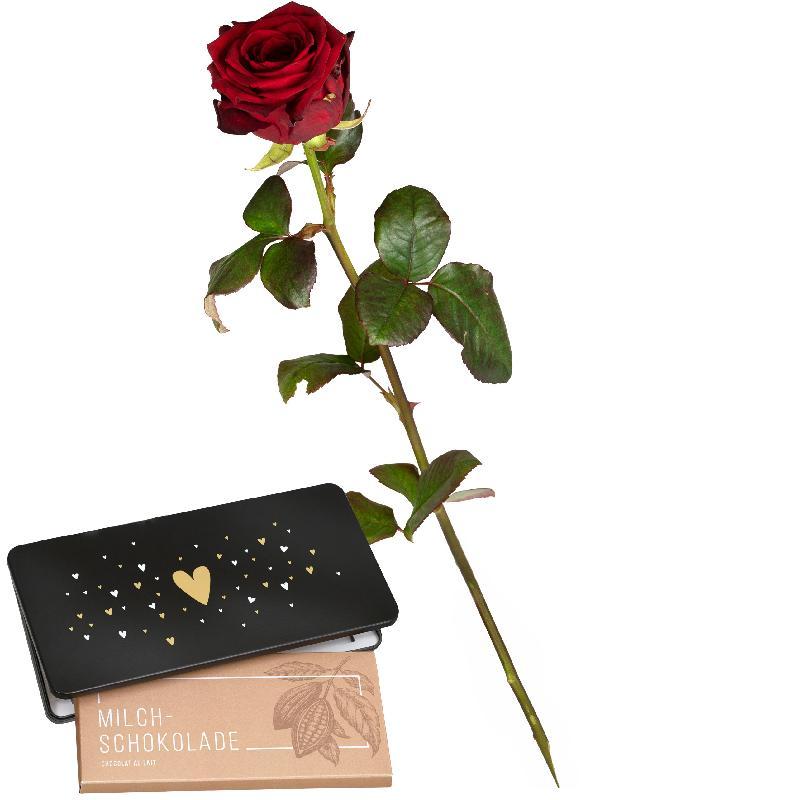 Bouquet de fleurs 1 Red Rose with bar of chocolate «Heart»