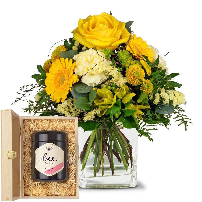 Bouquet de fleurs Sunny Vibes with Swiss blossom honey