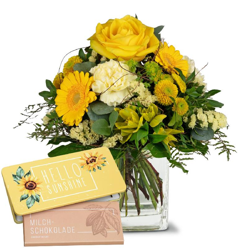 Bouquet de fleurs Sunny Vibes with bar of chocolate «Hello Sunshine»