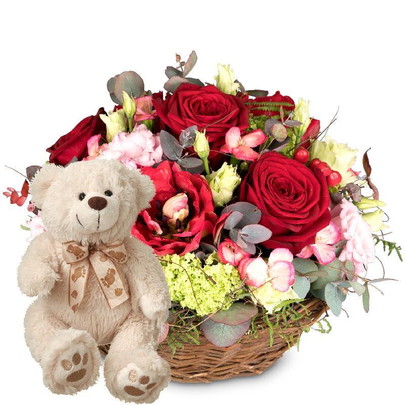 Bouquet de fleurs For my Darling with teddy bear (white)