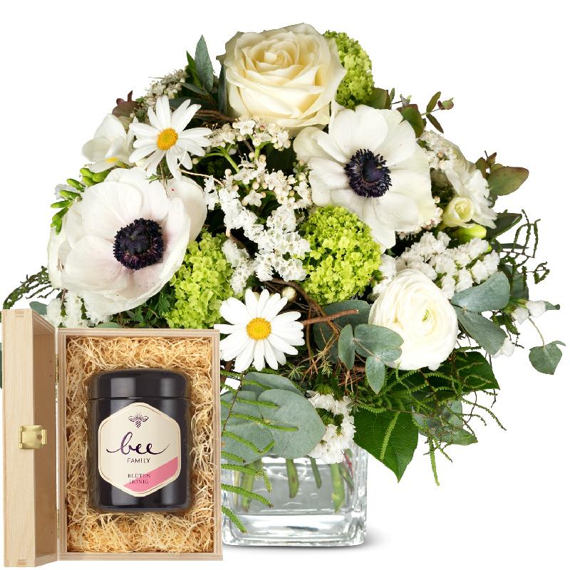 Bouquet de fleurs Romantic Spring Bouquet with Swiss blossom honey