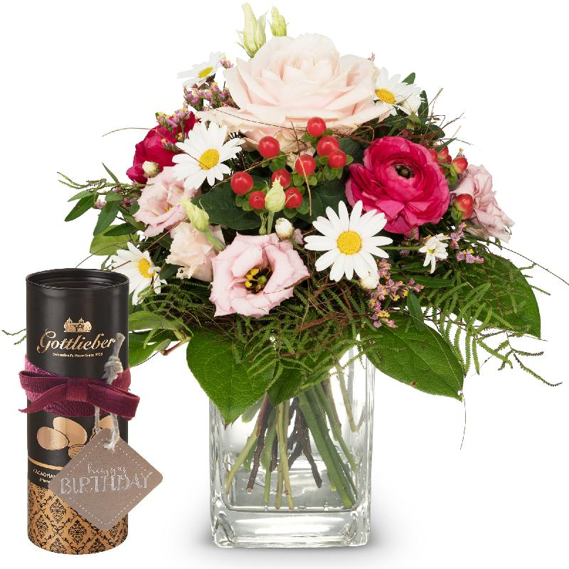 Bouquet de fleurs Just for You ... with Gottlieber cocoa almonds and hanging g