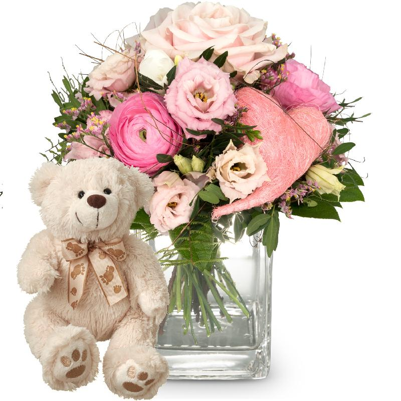 Bouquet de fleurs Butterflies in your stomach (with heart) and teddy bear (whi