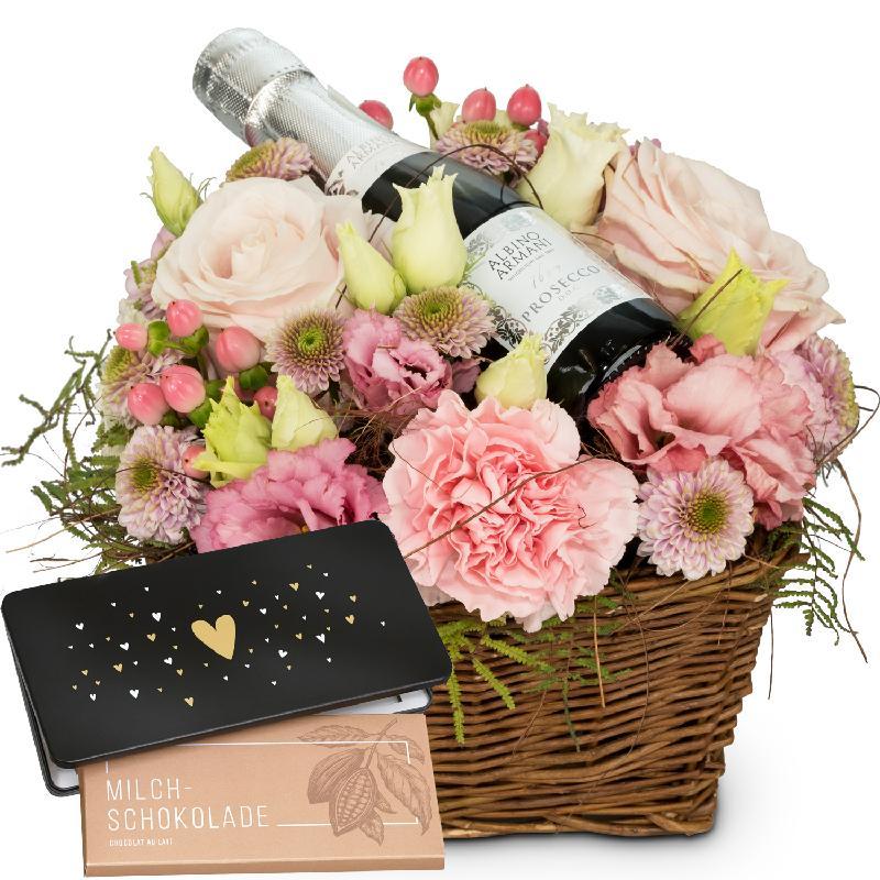 Bouquet de fleurs Flower Fairy with Prosecco Albino Armani DOC (20cl) and bar