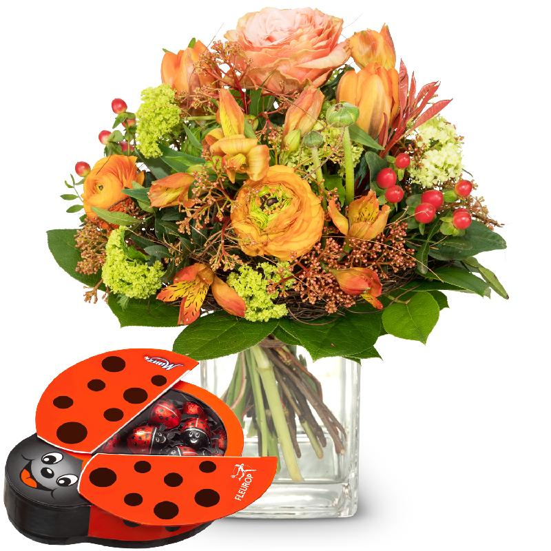 Bouquet de fleurs Signs of Spring with chocolate ladybird