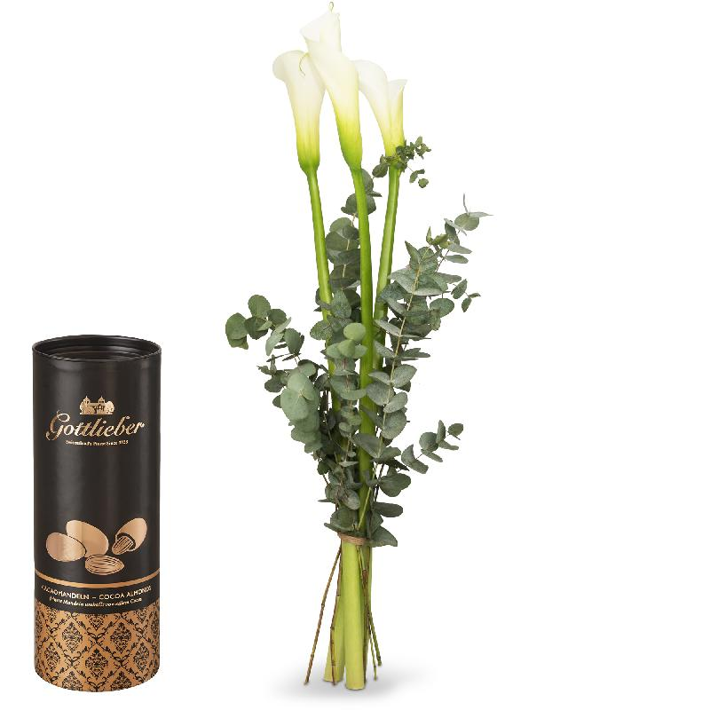 Bouquet de fleurs White Elegance and Gottlieber cocoa almonds