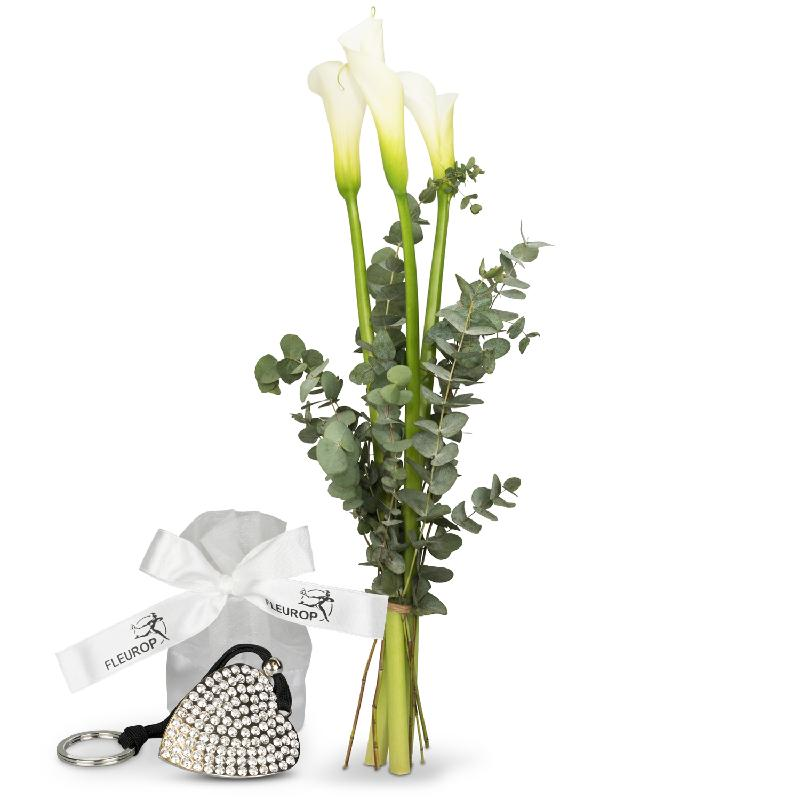 Bouquet de fleurs White Elegance, incl. Key Ring with 112 Swarovski® crystals