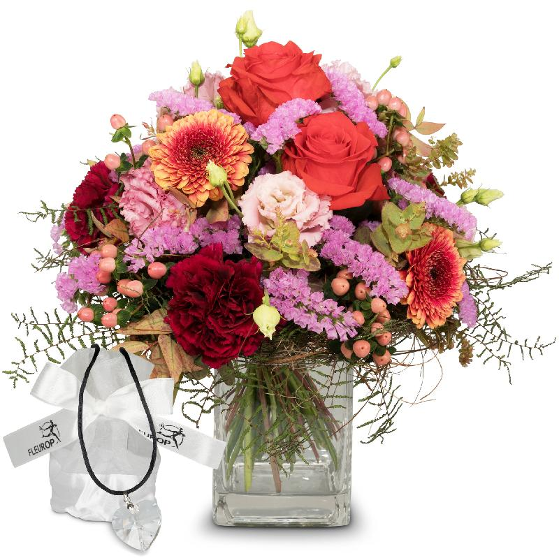 Bouquet de fleurs Colorful Wishes with Swarovski® crystal heart