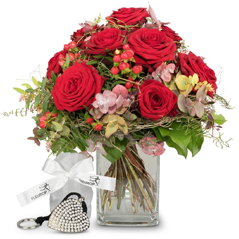 Bouquet de fleurs I Love You, incl. Key Ring with 112 Swarovski® crystals