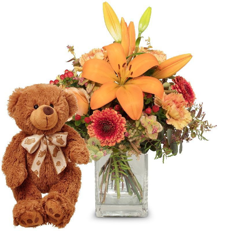 Bouquet de fleurs Harmony of Lilies with teddy bear (brown)