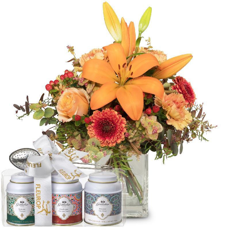 Bouquet de fleurs Harmony of Lilies with Gottlieber tea gift set