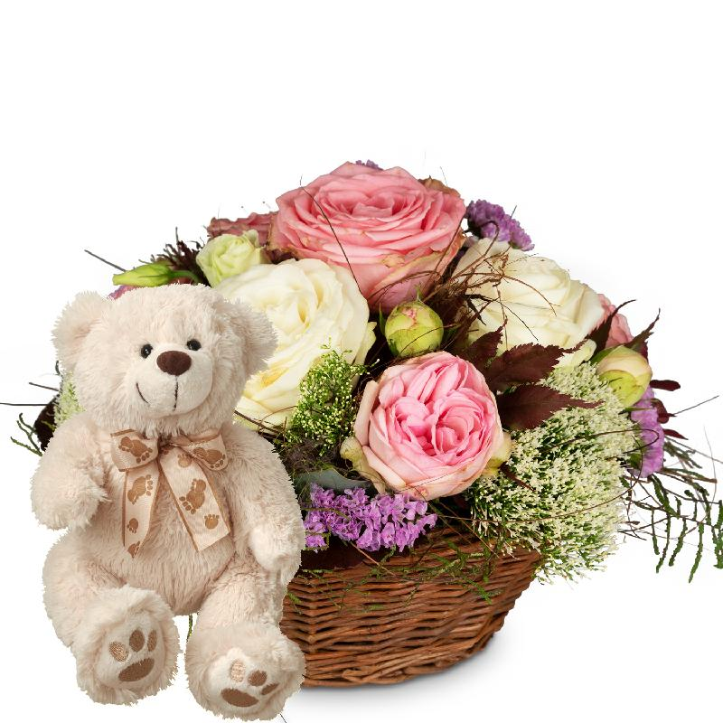 Bouquet de fleurs A Basket full of Poetry with Roses with teddy bear (white)